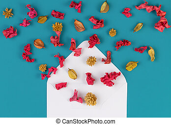 Open white envelop and colorful dried flowers, plants on blue background. Top view, flat lay