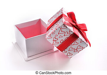 Open white gift box with bow and painted hearts isolated