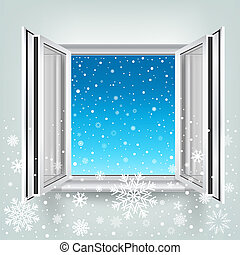 open window and falling snow - The opened plastic window and...