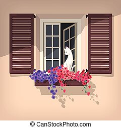 Open window and the cat