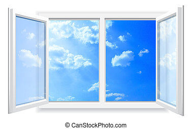 Open window and the cloudy sky. - Open window on white wall...