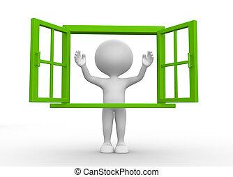 Open window - 3d people - man, person with a open window