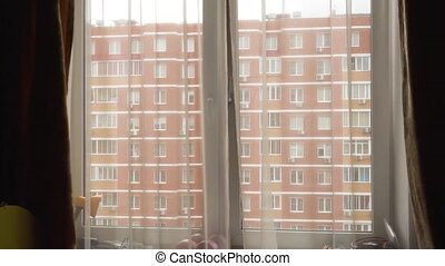 Open window, curtains thin, overlooking the house of red bricks