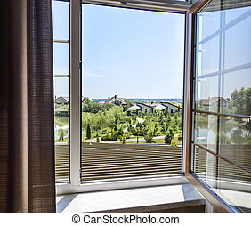 Open window in a sunny day.