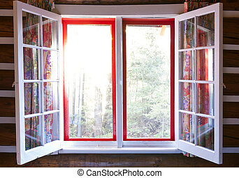 Open window in cottage - Open windows in cottage with...