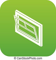 Open window leaf icon green vector