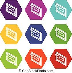 Open window leaf icons set 9 vector