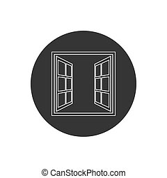 Open window line icon in flat style isolated on white background. For your design, logo. Vector