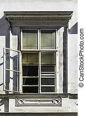 open window on a old building