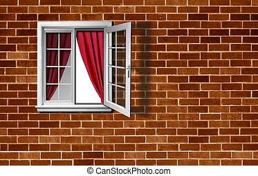 Open window on brick wall