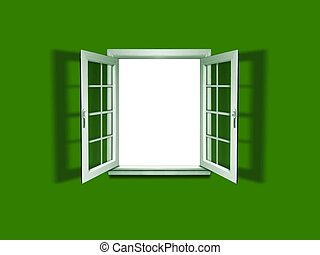 Open window on green wall