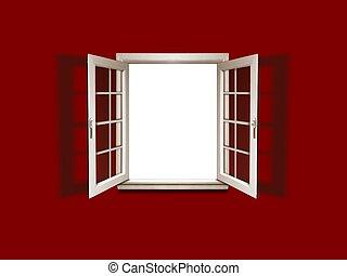 Open window on red wall