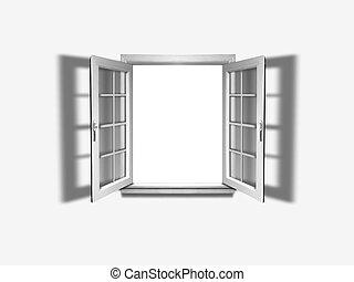 Open window on white