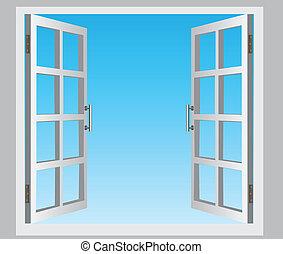 The open casement windows, the blue sky. Vector illustration.