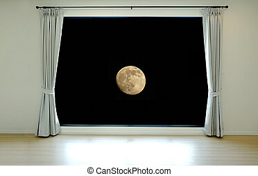 Open window to the moon at night