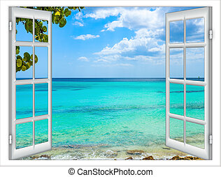 open window to the sea - open window view of the sea good...