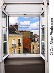 Open window - View from the open window in Rennes, France.