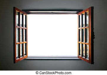 Open Window - Wide open rustic wooden window with empty...