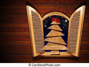Open Window with Christmas Tree