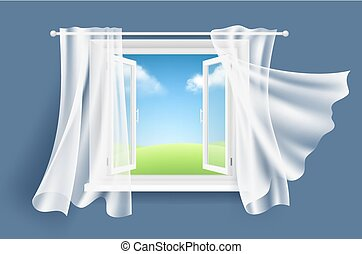 Open window with curtains. Sunny background with glass light window and flowing fluttering fabric curtain vector realistic