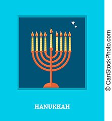 open window  with Hanukkah  menorah. happy hanukkah