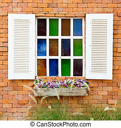 Open Window With On red brick Wall