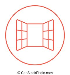 Open windows line icon for web, mobile and infographics. Vector red thin line icon in the circle isolated on white background.
