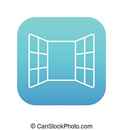 Open windows line icon for web, mobile and infographics. Vector white icon on the blue gradient square with rounded corners isolated on white background.