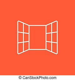 Open windows line icon for web, mobile and infographics. Vector white icon isolated on red background.