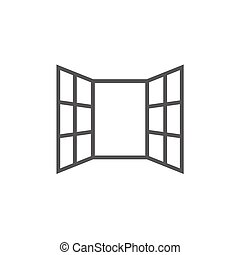 Open windows thick line icon with pointed corners and edges for web, mobile and infographics. Vector isolated icon.