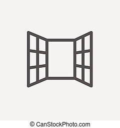 Open windows icon thin line for web and mobile, modern minimalistic flat design. Vector dark grey icon on light grey background.