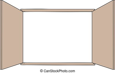 open windows wooden style draw