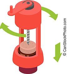 Open wine bottle mechanical corkscrew icon, isometric style...
