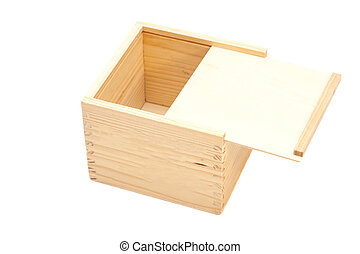 Open wooden box isolated white