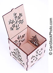 Open wooden Christmas box isolate