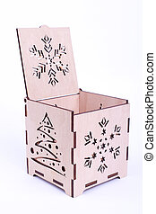 Open wooden Christmas box on white background