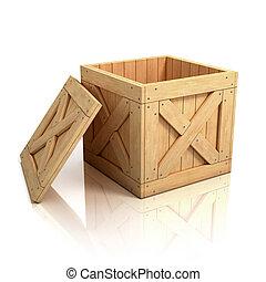 open wooden crate - box, boxed, shipping, ship, open, cargo,...
