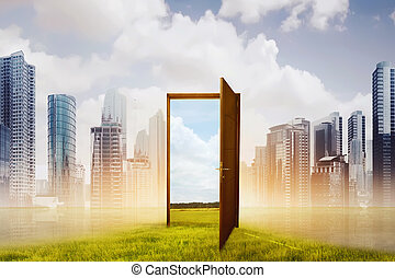 Open wooden door to the new world with green meadow