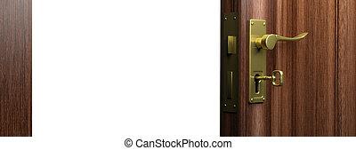 Open wooden door with bronze handle and key, copy space. 3d illustration