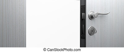 Open wooden door with chrome handle and key, copy space. 3d illustration