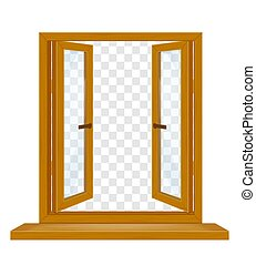 open wooden window with transparent glass for design vector illustration
