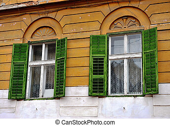 Open wooden windows with the green blinds