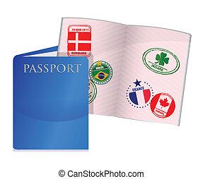 open worn US passport illustration design over white