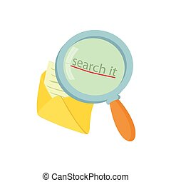 Open yellow envelope and magnifying glass icon