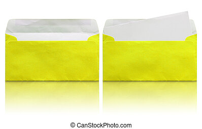 open yellow envelope with blank letter isolated on white background