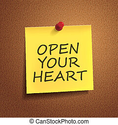 open your heart words on post-it