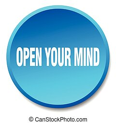 open your mind blue round flat isolated push button