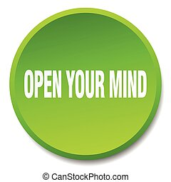 open your mind green round flat isolated push button