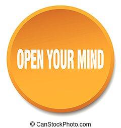 open your mind orange round flat isolated push button