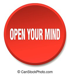 open your mind red round flat isolated push button